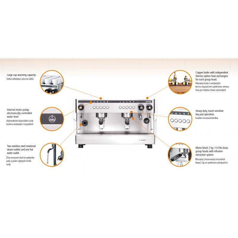 Profesionální kávovar NERA elektronica 2skupinový