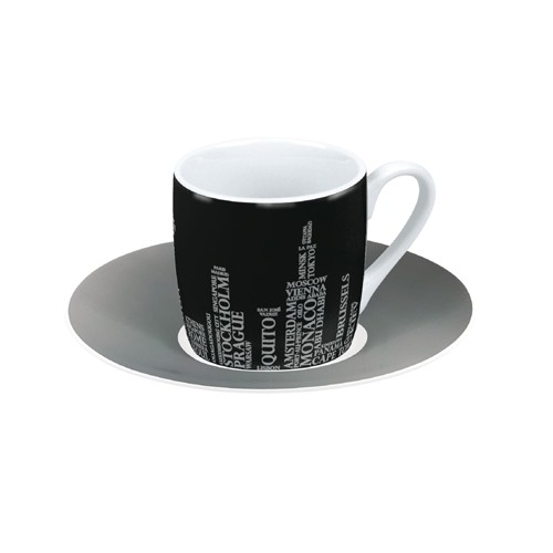 Espresso šálek s podšálkem Metropolen on black na kávu