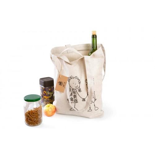Pevná látková nákupní taška s dlouhým i krátkým uchem